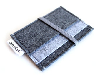 Card Organizer/ Card Wallet/ Felt Wallet/ Small Wallet/ Card Wallet Organizer- Charcoal Grey & Light Grey felt- Grey Elastic Band