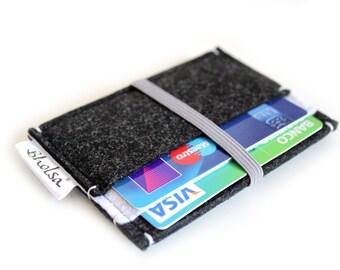 Little Wallet, Card Organizer, Card Wallet, Felt Wallet, Small Wallet, Coin wallet- Black & White Color felt