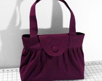 Pleated Handbag with Flap Closure in Plum Purple