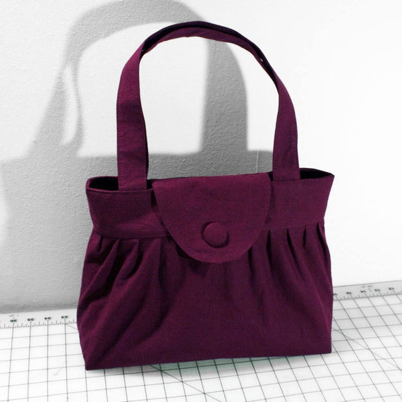 Pleated Handbag with Flap Closure in Plum Purple