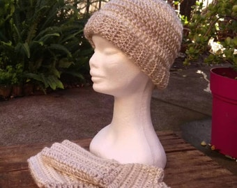 Vintage Pearl Crochet Hat and Glove Set