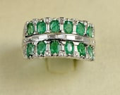 Fabulous emerald and diamond wide vintage band ring of relevant beauty