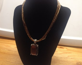 Vintage Brown Beaded Necklace with Brown Glass Pendant, Length 16''