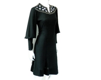 Jeanne Lanvin Dress Black Crepe with Beaded Comets Late Art Deco French Designer Clothing
