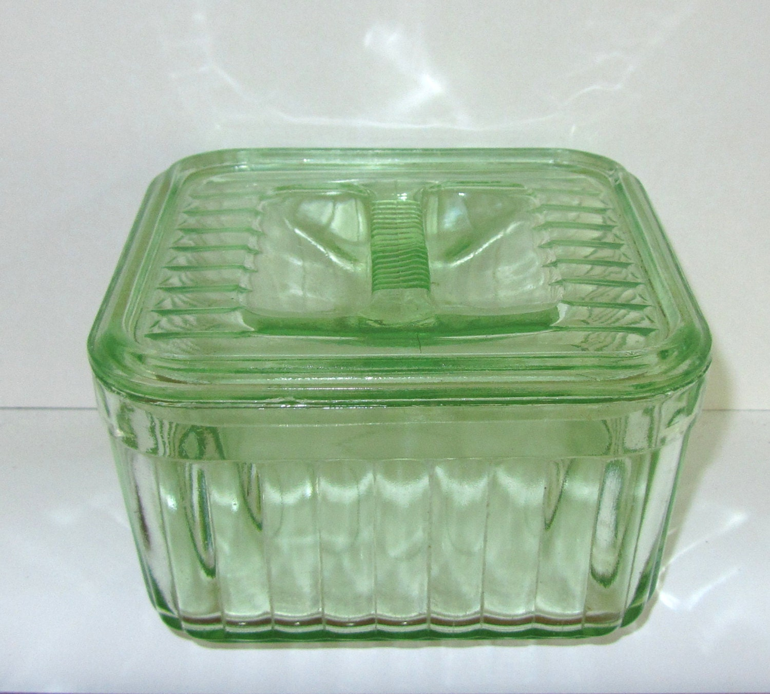 Vintage Dish With Lid Green Glass Ribbed Butter Refrigerator