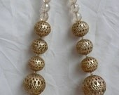 Vintage Gold Tone Bead and Faceted Glass Bead Statement Necklace Large Chunky Globe Necklace