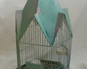 Vintage Green French Bird Cage with Steeple Roof Cathedral Top Archetypal Steeped Roof Ceramic Seed and Water Cups Canary Cage