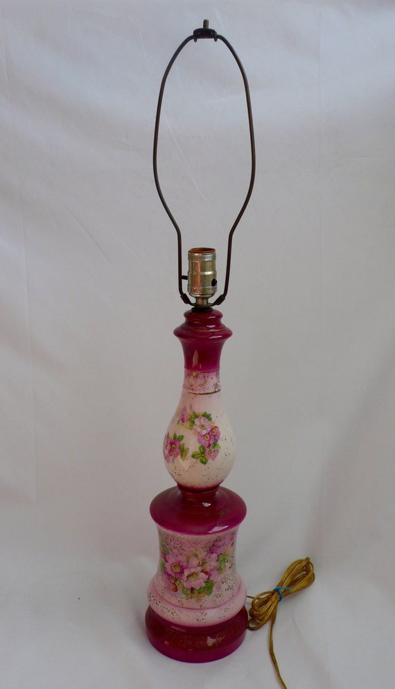 Items similar to Antique Pink Red Ceramic Bedroom Lamp ...
