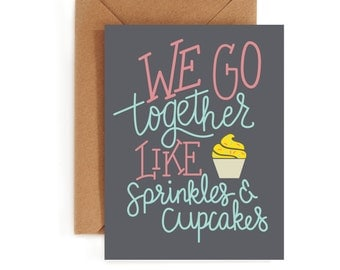 Valentines Day Card - Love Card - Sweet Card - Sprinkles and Cupcakes Card
