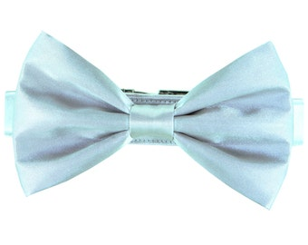 Silver Wedding Dog Bow Tie Collar/ Platinum Satin Dog Collar Bow Tie Set: Silver Satin
