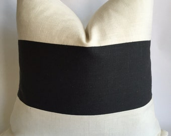 Cream and Cinder Linen/Cotton Linen Horizontal StripedPillow Cover