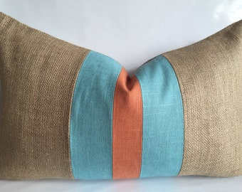 Village Blue and Orange Linen/Cotton Fabric and Natural Burlap Lumbar Pillow Cover