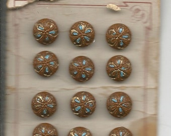 Vintage Glass Buttons on Original Card