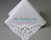 Something Blue Personalized Wedding Handkerchief (#MFP) Embroidered