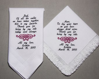 4pcs Wedding Handkerchiefs Personalized Embroidered To Mother