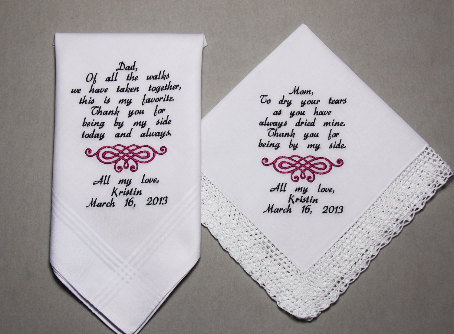 Embroidered Wedding Handkerchiefs Set Of Two Personalized