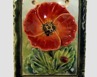 Little poppy ceramic picture,hand made