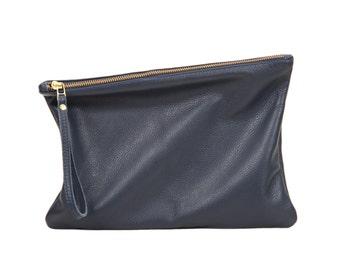 Navy leather clutch, fold over clutch, women zipper clutch
