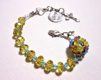 Rosary Bracelet - Yellow Daisies/Blue Skies/Spring Flowers