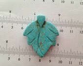 1pcs-32x38mm turquoise blue howlite carved leaf pendant, side drilled, focal point, center
