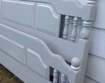 Sweet Dreams Vintage Queen or Full Size Headboard and Footboard in Soothing Distressed Grey