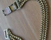 Nice antique art deco gold plated brass multi strand square chain link bracelet / OKGFGH
