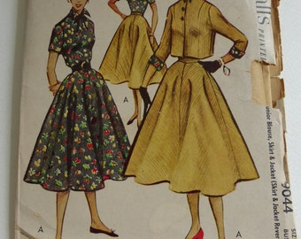 Vintage McCall's Pattern 9044 Junior Blouse, and Reverislbe SKirt and Jacket Size 11  Uncut