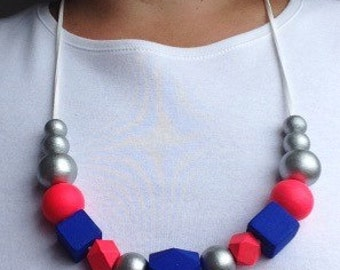 Hand painted wood bead necklace/hot pink/ royal blue/ silver