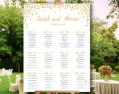 Golden confetti dots wedding seating chart - printable file