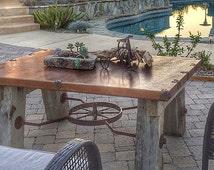 Re-purposed indoor/outdoor coffee table