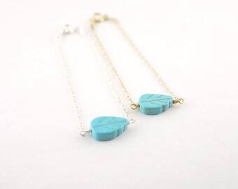 Turquoise leaf bracelet - bead bracelet - gold sterling silver bracelet - magnesite - organic nature