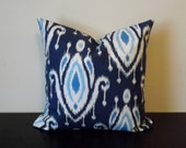 Decorative Throw Pillow, Blue Ikat Pillow Cover, 16x16, 18x18, 20x20, Toss Pillow, Sofa Pillow, Throw Pillow, Accent Pillow