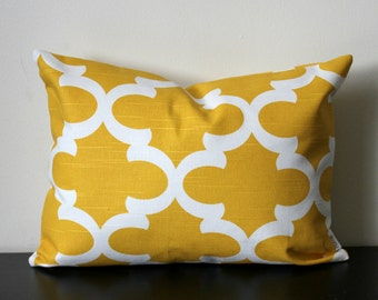 Decorative Throw Pillow, Yellow and White Lumbar Pillow,12x16,12 x18, Lumbar Pillow, Yellow Pillow,Toss Pillow, Accent Pillow, Sofa Pillow