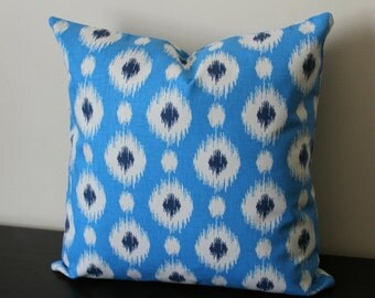 Decorative Throw Pillow, Ikat Pillow Cover, Blue Pillow Cover, 18x18, 20x20, Toss Pillow, Sofa Pillow, Throw Pillow, Accent Pillow
