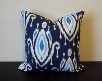 Decorative Throw Pillow, Blue Ikat Pillow Cover, 16x16, 18x18, 20x20, Toss Pillow, Sofa Pillow, Throw Pillow, Accent Pillow