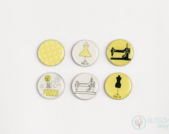 Set of 6 Magnets. Sewing Machine Fridge Magnets.