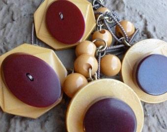 Vintage Bakelite Button Beaded Dangle Necklace