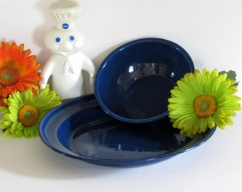 2-Piece Speckled Blue Enamel Dishes - Bowl - Plates - Vintage Home Kitchen Enamelware DishesDecor