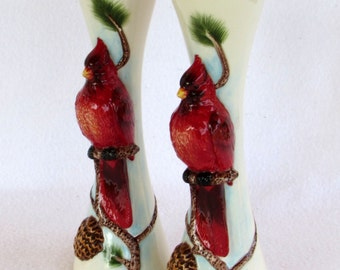 Cardinal Candle Holders - Red Birds on an Evergreen Tree Branch - Raised Relief 3-D Birds - Pinecones - Needles - Year Round - Nature  Decor