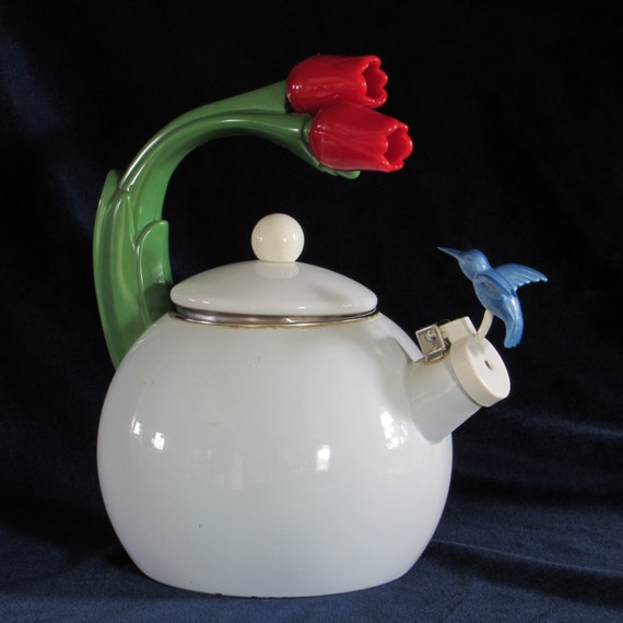 Cool Tea Kettles ~ Rare s whistling enamel tea pot with tulips handle and