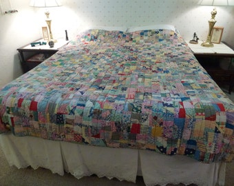 "Vintage Hand Made* Hand Quilted* Full Size Patchwork  Quilt  80"" by 66"""