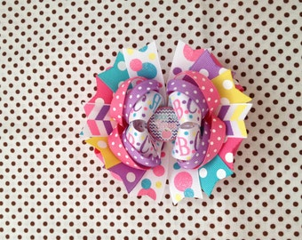Ready To Ship Hairbow! Back To School Hairbow, ABC Hairbow, Alphabet Hairbow, Polka Dot Boutique Hairbow, Girls Hairbow