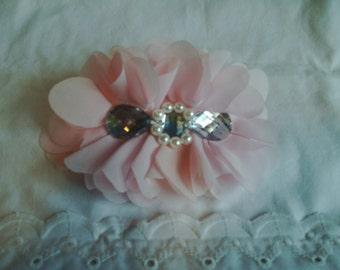 Barrette - French Barrette - Pale Pink Barrette - Light Pink Barrette - Chiffon Flower - Pale Pink Chiffon Flower - Bling Flower Barrette