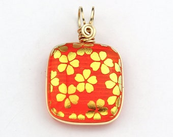 Orange Dichroic Glass Pendant, Gold Filled Wire Wrapped with Gold Flowers