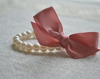 Rosa: Newborn / Infant Ivory Pearl Bracelet with Dusty Rose / Pink - Tiny Pearls