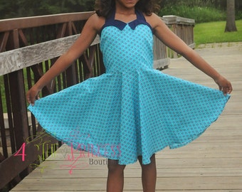 vintage, classic, girls dress, polka-dot dress, Betty dress, circle skirt,