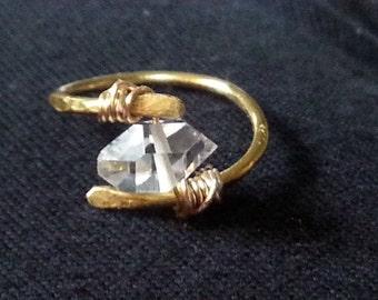 Tiny Herkimer Diamond Ring- Minimalist Ring