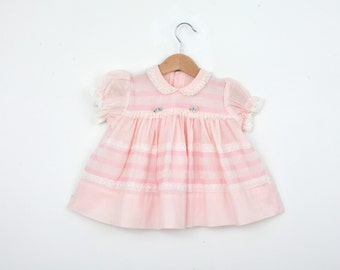 Vintage Smocked Baby Dress in Pink 12 months