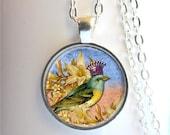 Bird Pendant, Whimsical Bird Jewelry, Bird Necklace, Bird With Crown