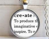 Create Pendant, Inspirational Word Jewelry, Create Necklace